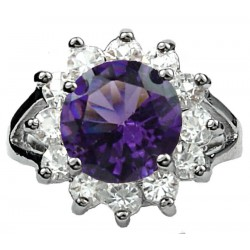 Fashion Girls Women Gifts, Costume Jewellery Rings UK, Split Shank Purple Round Rhinestone Clear Diamante Halo Cluster Ring