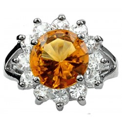 Costume Jewellery Rings UK, Fashion Girls Women Gifts, Split Shank Amber Brown Round Rhinestone Clear Diamante Halo Cluster Ring