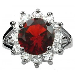 Costume Jewellery Rings, Fashion Girls Women Gifts UK, Split Shank Ruby Red Round Rhinestone Clear Diamante Halo Cluster Ring