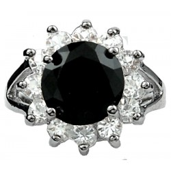 Girl Women's Gifts, Costume Jewellery Rings UK, Split Shank Black Round Rhinestone Clear Diamante Halo Cluster Ring