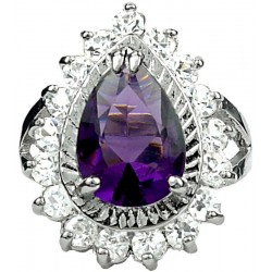 Fashion Girls Women Gifts, Costume Jewellery Rings, Split Shank Purple Teardrop Rhinestone Clear Diamante Halo Cluster Ring