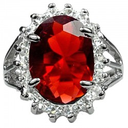 Split Shank Ruby Red Large Oval Rhinestone Clear Diamante Halo Cluster Ring