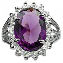 Fashion Girls Woman Gifts, Costume Jewellery Rings UK, Split Shank Purple Large Oval Rhinestone Clear Diamante Halo Cluster Ring