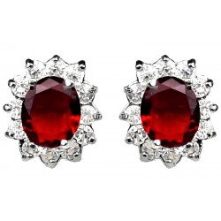 Ruby Red Oval Rhinestone Clear Diamante Cluster Halo Stud Earrings