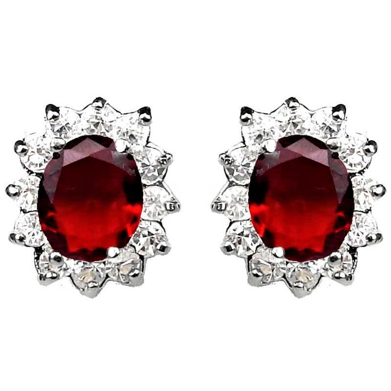 Fashion Women Gifts Costume Jewellery Earring Studs Uk Ruby Red Oval Rhinestone Clear Diamante Loading Zoom
