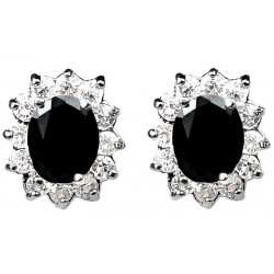 Black Oval Rhinestone Clear Diamante Cluster Halo Stud Earrings