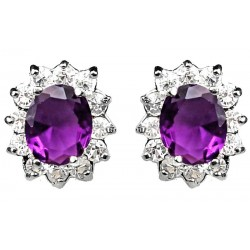 Purple Oval Rhinestone Clear Diamante Cluster Halo Stud Earrings