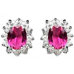 Hot Pink Oval Rhinestone Clear Diamante Cluster Halo Stud Earrings