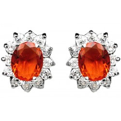 Orange Oval Rhinestone Clear Diamante Cluster Halo Stud Earrings
