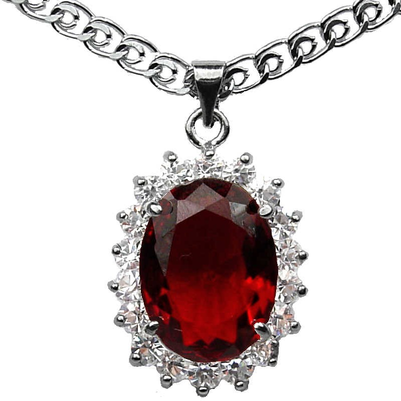 Costume jewellery necklacefashion red oval stone halo cluster pendant women gifts fashion necklaces costume jewellery pendants ruby red oval rhinestone clear diamante cluster loading zoom aloadofball Gallery