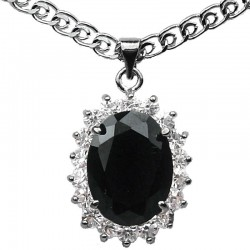 Costume Jewellery Pendants, Fashion Necklaces, Woman Gift, Black Oval Rhinestone Clear Diamante Halo Cluster Pendant Necklace