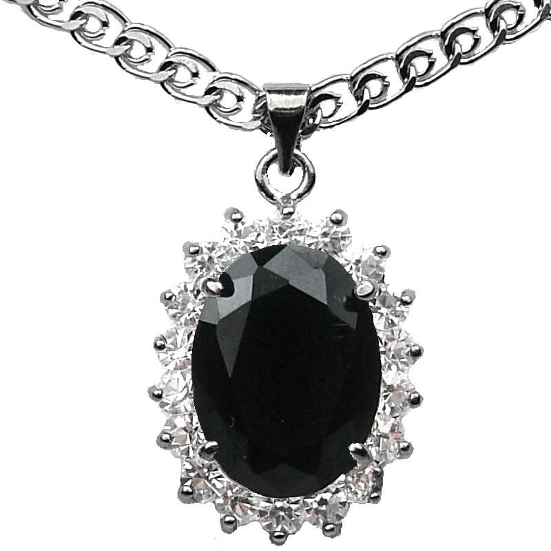 Costume Jewellery Pendants Fashion Necklaces Woman Gift Black Oval Rhinestone Clear Diamante Halo. Loading zoom  sc 1 st  Fashion Jewellery Online & Black Oval Stone Halo Cluster Costume Pendant|Fashion Jewelry Necklace