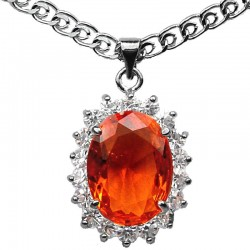 Fashion Necklaces Costume Jewellery Pendants, Women Gifts, Orange Oval Rhinestone Clear Diamante Halo Cluster Necklace Pendent