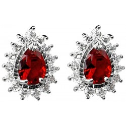 Ruby Red Teardrop Rhinestone Clear Diamante Cluster Halo Stud Earrings
