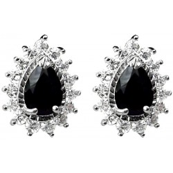 Fashion Women Earring Studs, Costume Jewellery Gifts UK, Black Teardrop Rhinestone Clear Diamante Cluster Halo Stud Earrings