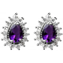 Purple Teardrop Rhinestone Clear Diamante Cluster Halo Stud Earrings