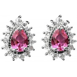 Pink Teardrop Rhinestone Clear Diamante Cluster Halo Stud Earrings