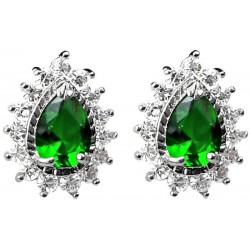 Fashion Women Costume Jewellery Earring Studs UK, Emerald Green Teardrop Rhinestone Clear Diamante Cluster Halo Stud Earrings