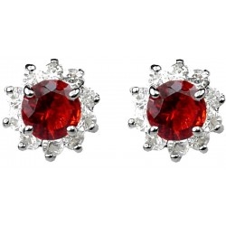 Ruby Red Round Rhinestone Clear Diamante Cluster Halo Stud Earrings