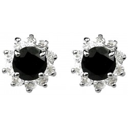 Fashion Women Girls Gift, Costume Jewellery Stud Earrings UK, Black Round Rhinestone Clear Diamante Halo Cluster Earring Studs