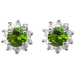 Green Round Rhinestone Clear Diamante Cluster Halo Stud Earrings