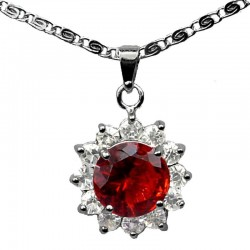 Costume Jewellery Necklaces, Fashion Circle Pendants UK, Ruby Red Round Rhinestone Clear Diamante Halo Cluster Pendant Necklace