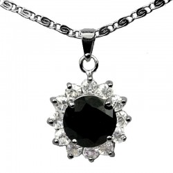 Costume Jewellery Pendant Necklaces, Fashion Gifts UK, Black Round Rhinestone Clear Diamante Cluster Halo Necklace Pendants