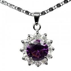 Costume Jewellery Necklaces UK, Fashion Pendant & Chain, Purple Round Rhinestone Clear Diamante Cluster Halo Necklace Pendants