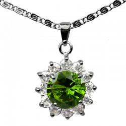 Costume Jewellery Necklaces UK, Fashion Pendants & Chain, Green Round Rhinestone Clear Diamante Cluster Halo Pendant Necklace