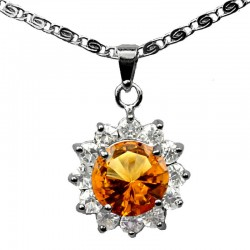 Fashion Costume Jewellery Pendant Necklaces UK, Amber Brown Round Rhinestone Clear Diamante Cluster Halo Necklace Pendants