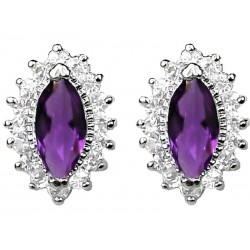 Purple Marquise Rhinestone Clear Diamante Teardrop Halo Cluster Stud Earrings