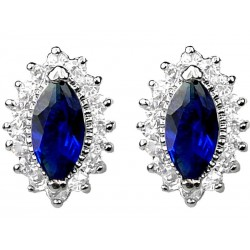 Royal Blue Marquise Rhinestone Clear Diamante Teardrop Halo Cluster Stud Earrings