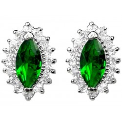 Costume Jewellery Earring Studs, Fashion Emerald Green Marquise Rhinestone Clear Diamante Teardrop Halo Cluster Earring Studs