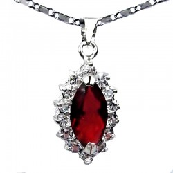 Costume Jewellery Pendants, Fashion Necklaces, Red Marquise Cut Rhinestone Clear Diamante Teardrop Halo Cluster Necklace Pendant