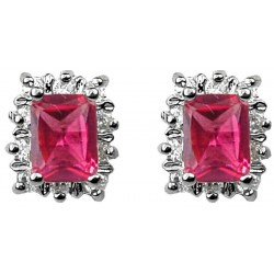 Hot Pink Rectangle Rhinestone Clear Diamante Halo Cluster Stud Earrings