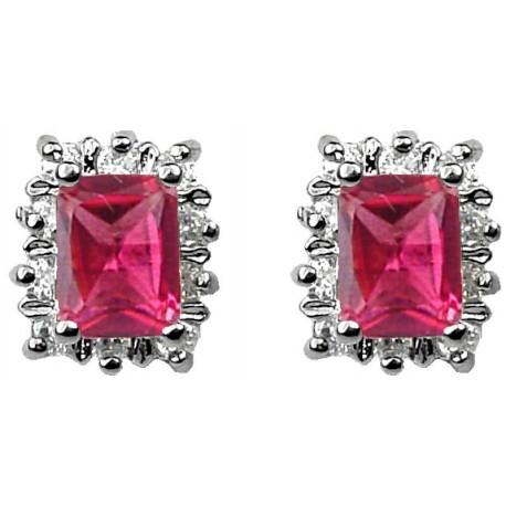 Fashion women Gift, Costume Jewellery Earring Studs, Fuchsia Pink Rectangle Rhinestone Clear Diamante Halo Custer Stud Earrings