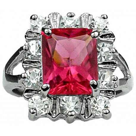 Costume Jewellery Rings, Women Girls Gifts, Split Shank Hot Pink Rectangle Rhinestone Clear Diamante Cluster Ring