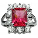 Split Shank Hot Pink Rectangle Rhinestone Clear Diamante Cluster Ring