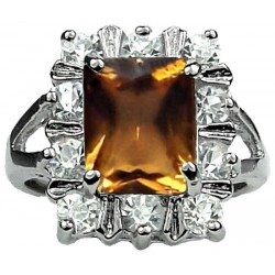 Costume Jewellery Rings UK, Grils Women Gifts, Split Shank Brown Rectangle Rhinestone Clear Diamante Cluster Ring