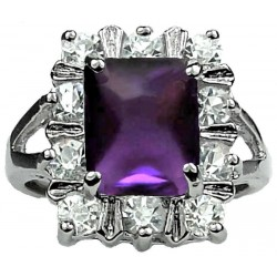 Split Shank Purple Rectangle Rhinestone Clear Diamante Cluster Ring