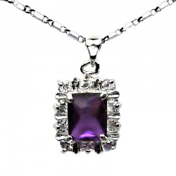 Costume Jewellery Necklaces UK, Fashion Women Pendants, Purple Rectangle Rhinestone Clear Diamante Halo Cluster Pendant Necklace