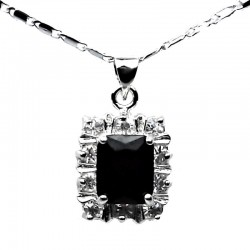 Costume Jewellery Necklaces UK, Fashion Pendant Gifts, Black Rectangle Rhinestone Clear Diamante Halo Cluster Pendant Necklace
