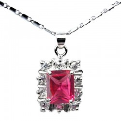Costume Jewellery Pendants, Pink Fashion Necklaces UK, Fuchsia Rectangle Rhinestone Clear Diamante Halo Cluster Necklace Pendant