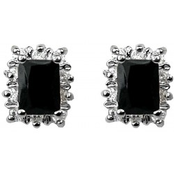Fashion Women Gifts, Costume Jewellery Earring Studs UK, Black Rectangle Rhinestone Clear Diamante Halo Cluster Earring Studs