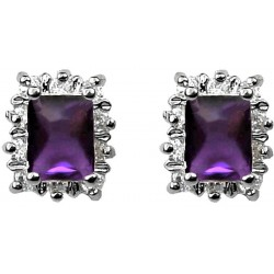 Fashion Women Gifts, Costume Jewellery Earring Studs UK, Purple Rectangle Rhinestone Clear Diamante Halo Cluster Stud Earrings