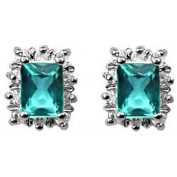 Blue Rectangle Rhinestone Clear Diamante Halo Cluster Stud Earrings