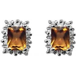 Women Costume Jewellery Earring Studs, Gifts UK, Brown Rectangle Rhinestone Clear Diamante Halo Cluster Fashion Stud Earrings