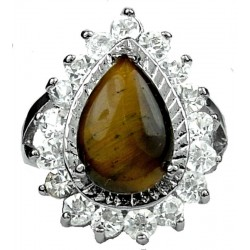Semi Preious Brown Natural Stone Costume Jewellery Rings, Fashion Gift UK, Tiger Eye Teardrop Clear Diamante Halo Cluster Ring