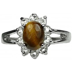 Brown Natural Stone Costume Jewellery Rings UK, Fashion Gifts, Tiger Eye Oval Clear Diamante Halo Cluster Dress Ring