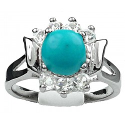 Blue Costume Jewellery Rings, Fashion Girls Women Gifts UK, Turquoise Round Natural Stone Clear Diamante Dress Ring